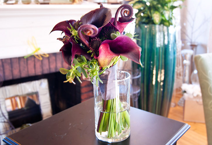 Purple Calla Lillies Wedding Flowers in Green Bay